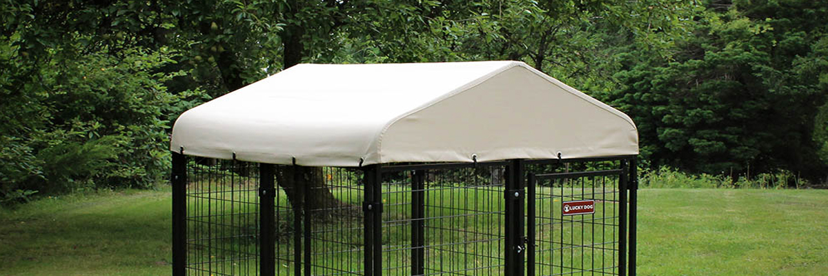 Lucky Dog® Pet Resort Kennel With Sunbrella Canopy Cover